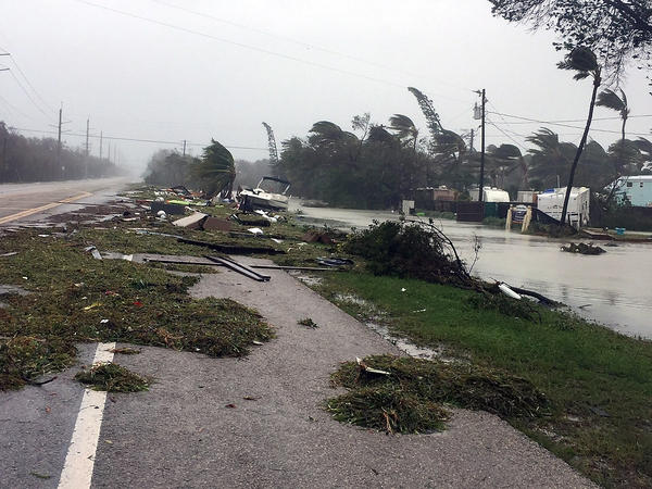 ISLAMORADA, FL - SEPTEMBER 11: Debris is shown strewn along a roadway in the wake of powerful Hurricane Irma on September 11, 2017 in Isamorada, a village encompassing six of the Florida Keys. Irma made landfall in the Florida Keys as a Category 4 Sunday, swelling waterways an estimated 10 to 15 feet, according to published reports.  (Photo by Marc Serota/Getty Images)