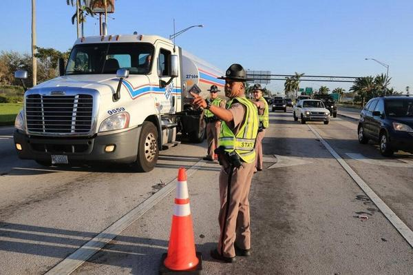 Police control access at a check point in Florida City into the Florida Keys on Tuesday.