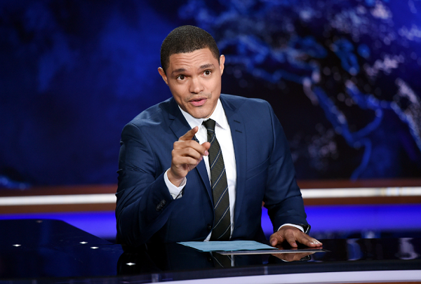 Trevor Noah works on set during a taping of 'The Daily Show with Trevor Noah' in New York.