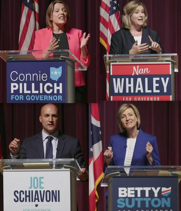 Connie Pillich, Nan Whaley, Joe Schiavoni and Betty Sutton debated in the first Democratic debate in Martin's Ferry.