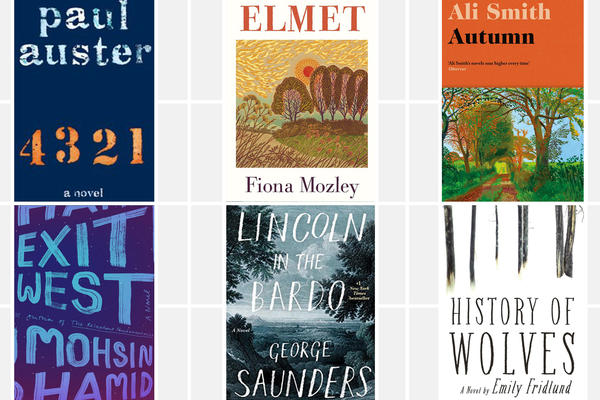 The 2017 Man Booker nominees are Paul Auster's <em>4 3 2 1,</em> Fiona Mozley's <em>Elmet,</em> Ali Smith's <em>Autumn,</em> Emily Fridlund's <em>History of Wolves,</em> George Saunders' <em>Lincoln in the Bardo,</em> and Mohsin Hamid's <em>Exit West</em>.