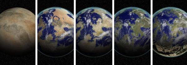 A new scheme classifies planets based on their ability to take solar energy and do work to drive complex systems, like a biosphere or a civilization. Seen here in an artist's rendition, it is composed of five levels, from a Class I planet (far left) to a Class V planet (far right).