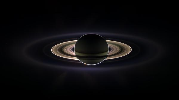 With giant Saturn hanging in the blackness and sheltering Cassini from the sun's blinding glare, the spacecraft viewed the rings as never before. A photo returned in February 2016.