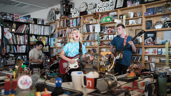 Snail Mail performs a Tiny Desk Concert on July 12, 2017. (Claire Harbage/NPR)