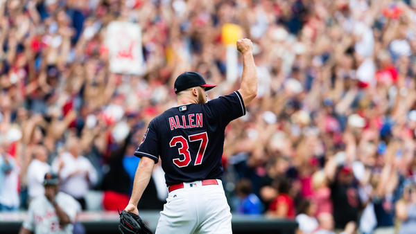 Closing pitcher Cody Allen of the Cleveland Indians celebrates after the last out Wednesday to defeat the Detroit Tigers at Progressive Field in Cleveland. The Indians defeated the Tigers for their 21st straight win, setting the American League record.