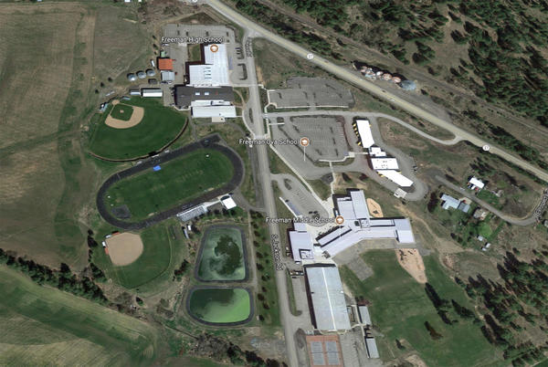 An aerial view of Freeman High School, where a student was shot to death Wednesday.