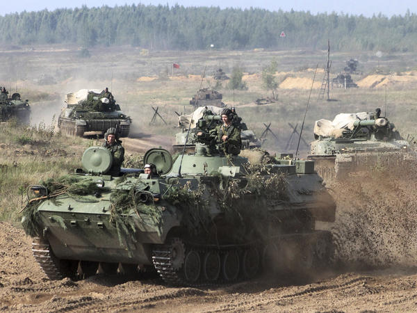 On Monday, Belorussian army vehicles prepare for war games at an undisclosed location in Belarus.