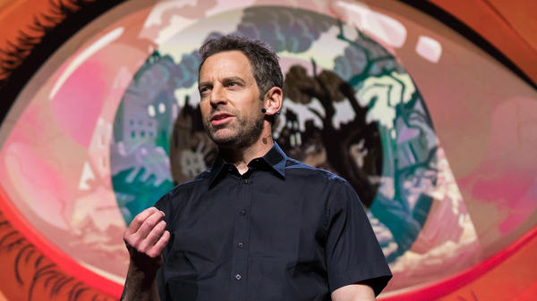 Sam Harris on the TED stage.