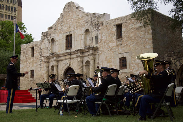 "The 323rd Army Band, ""Fort Sam's Own,"" performs outside the Alamo. The band is scheduled to be deactived in 2019."