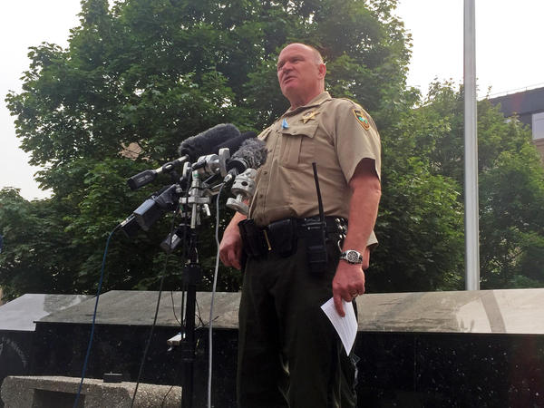 Spokane County Sheriff Ozzie Knezovich briefed reporters on Wednesday's shooting at Freeman High School in front of the courthouse.