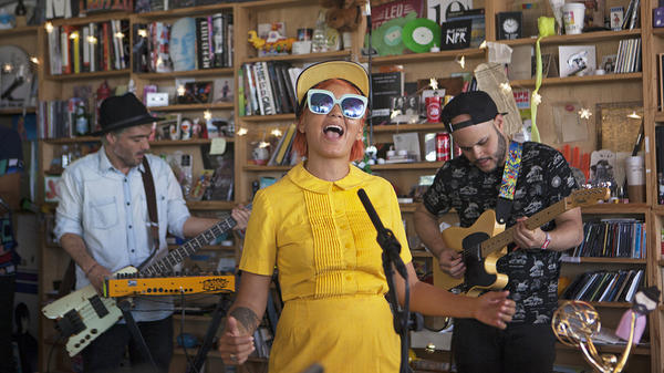 Bomba Estereo performs a Tiny Desk Concert at NPR's Washington, D.C., headquarters on Aug. 18, 2017.