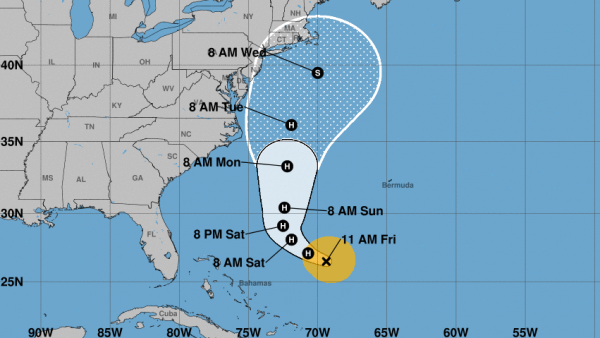 Jose was declared a hurricane Friday — and is predicted to remain one as it shifts to a northern track along the U.S. East Coast.