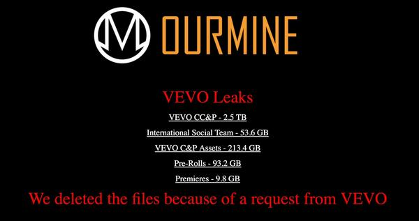 OurMine removed Vevo's data after the music video platform requested it be taken down.