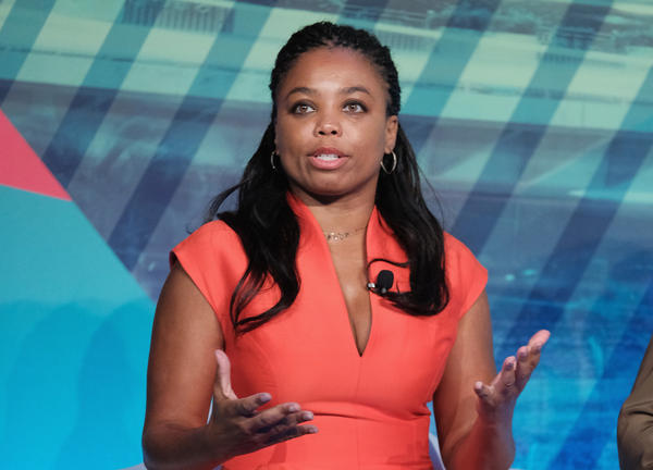 "Jemele Hill, co-host of ESPN's <em>SC6, </em>speaking on a panel last year. Hill has landed in hot water for calling President Trump a ""white supremacist."" She's got her critics and lots of supporters."