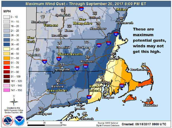 The strongest wind will be south of Boston, typical for a storm passing south of Nantucket.  (Courtesy NOAA)
