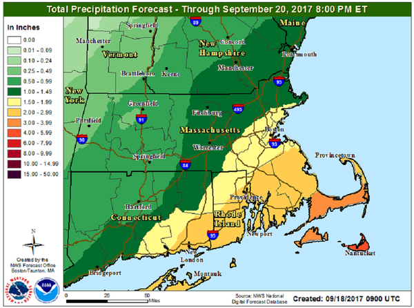 Areas north and west of Boston will see much less rainfall. (Courtesy NOAA)