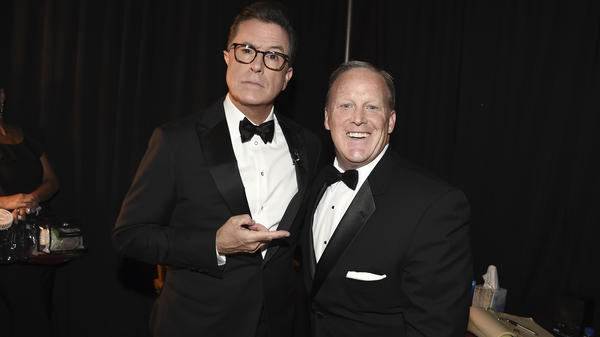 Stephen Colbert and Sean Spicer at the Emmys