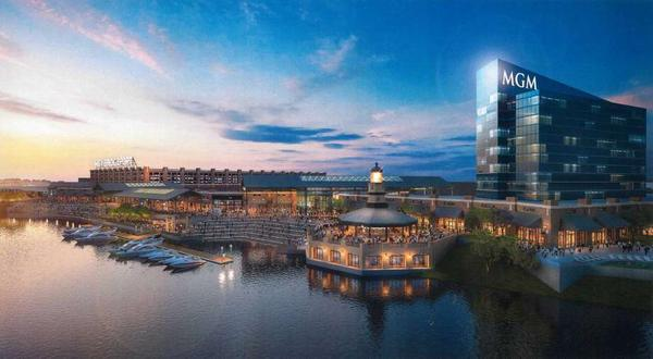 A rendering shows the potential casino on Bridgeport's waterfront.