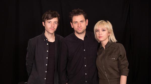 From left, Lo Moon's Sam Stewart, Matt Lowell, and Crisanta Baker at WFUV's studios in New York.