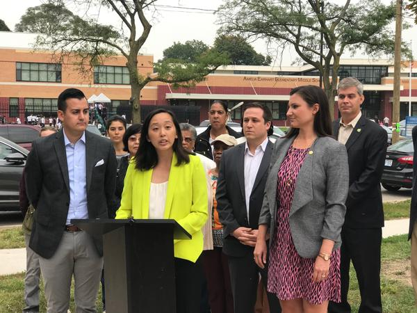 State Rep. Stephanie Chang (podium) introducing the so-called ABC Education plan outside of Amelia Earhart Elementary in Detroit, a LEED certified school. Pictured: Camilleri (left), Chang, Wittenburg, Pagan (right).