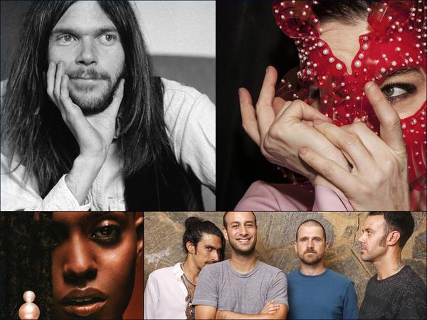 Clockwise from upper left: Neil Young, Björk, Brand New, Kelela