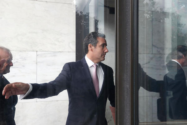 Michael Cohen, President Trump's personal lawyer, arrives at the Hart Senate Office Building to be interviewed by the Senate Intelligence Committee on Tuesday.