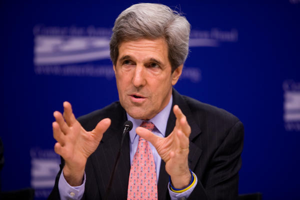 Then-Senator John Kerry speaking about climate change in Germany in 2009.