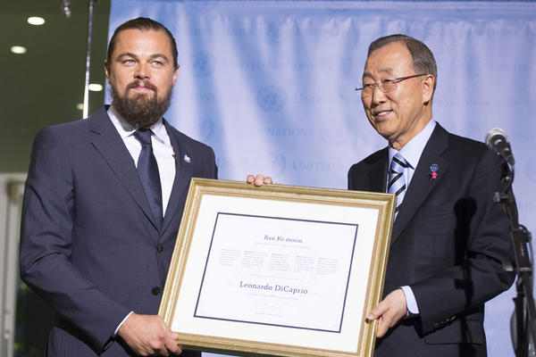 United Nations Secretary-General Ban Ki-moon names actor Leonardo DiCaprio, as a UN Messenger of Peace in 2014. DiCaprio will be at Yale University Tuesday to speak about climate change.