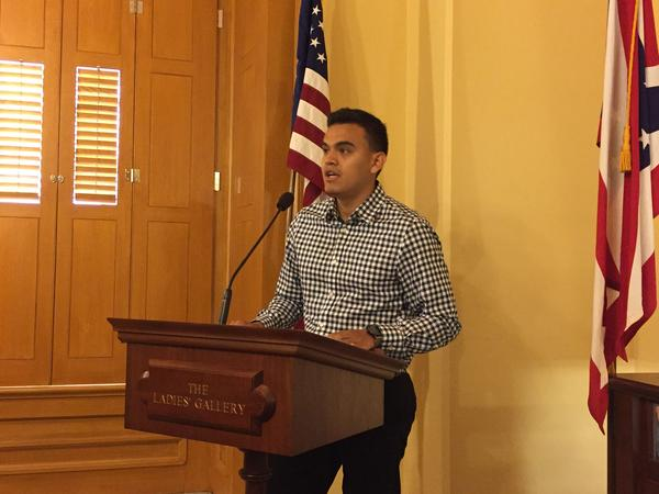 Elvis Saldias, in the Ohio Statehouse, asked for the U.S. Congress to support legislation that would offer extended protections for children who were brought to the United States and no longer have legal status.