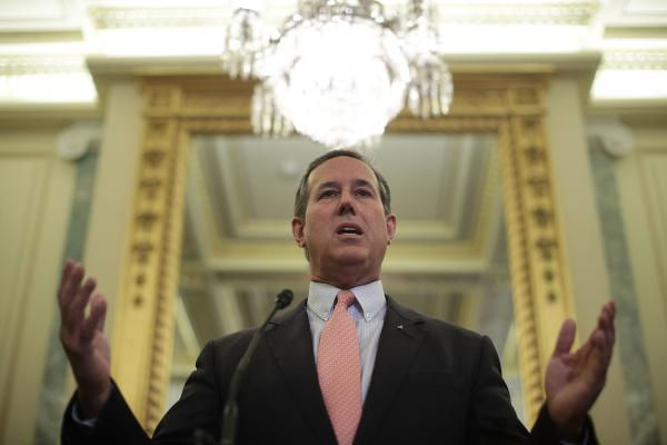 Former Sen. Rick Santorum, R-Pa., speaks on Capitol Hill on Sept. 13 at the unveiling of the latest Republican bill aimed at dismantling the Affordable Care Act.