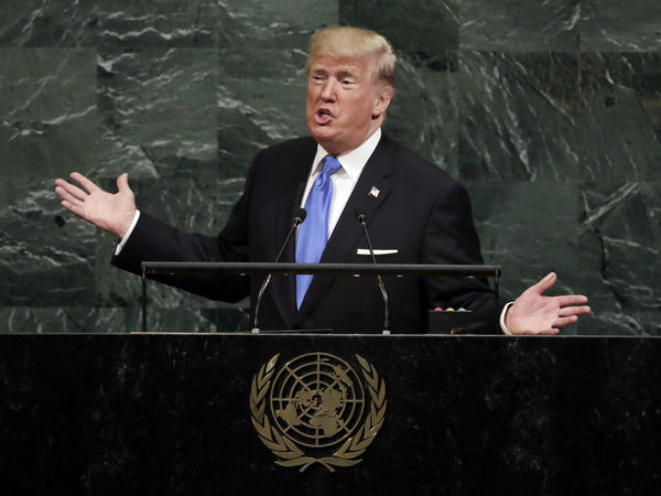 "President Trump told the U.N. General Assembly Tuesday that the U.S. may have no choice but to ""totally destroy"" North Korea if forced to defend itself and its allies."