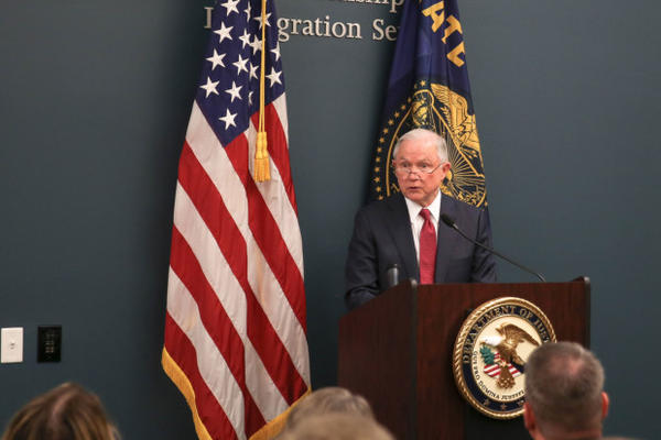 <p>U.S. Attorney General Jeff Sessions addresses a room full of federal, state and local law enforcement officials and government employees at the U.S. Citizen and Immigration Services field office in Portland Tuesday, Sept. 19, 2017.</p>