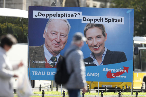 Alexander Gauland and Alice Weidel are the top candidates of the right wing and pro-Russia political party Alternative for Germany. The party is projected to win seats in the lower house of parliament.