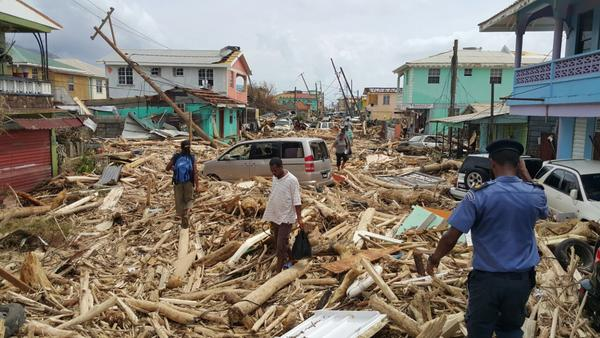 View of damage caused the day before by Hurricane Maria near Roseau, Dominica, on Wednesday.