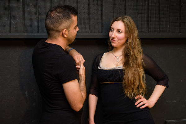 "When she's not leading a workshop, Lierenfeld works as a ""flirt coach"" — helping clients become more confident in flirting with women.<strong> </strong>She and Abulhusn (left) had a recent session.<strong> </strong>"