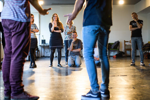 Lierenfeld teaches her weekly improv class for Germans and refugees in a theater in Berlin's hip Mitte district. Most of the attendees have been coming since the spring.