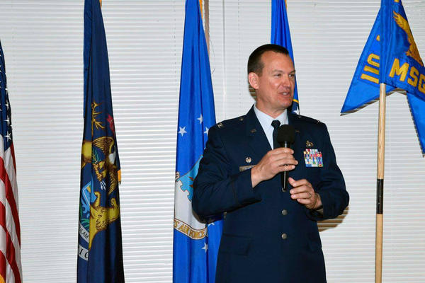 Col. Eric Oswald, retired commander of the 110th Mission Support, speaking at his retirement party in June 2017.
