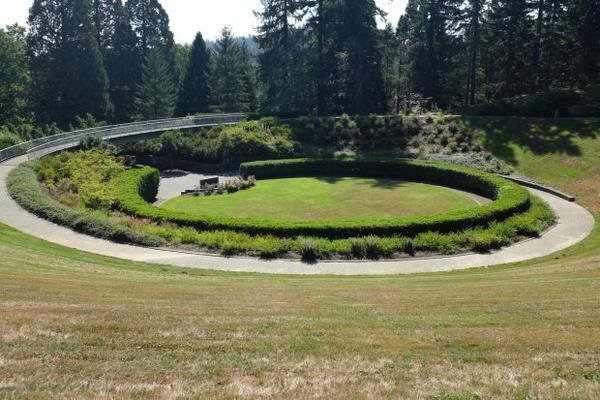 <p>The garden's spiral design represents birth, life, death, and rebirth.</p>