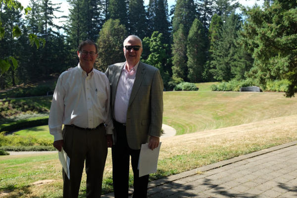 <p>Clayton Hering and Doug Bomarito were instrumental in the construction of the Oregon Vietnam Veterans Memorial, known as the Garden of Solace.</p>
