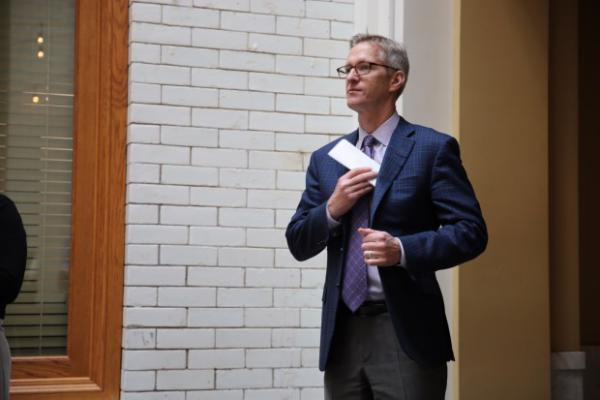 <p>Mayor Ted Wheeler at a press conference Sept. 15, 2017.</p>