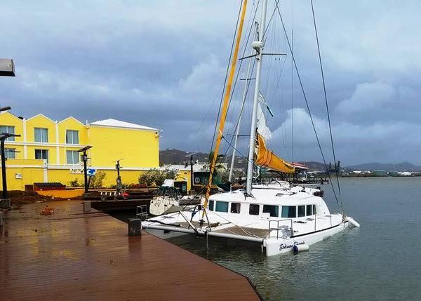 A partially sunken yacht in St. Croix.