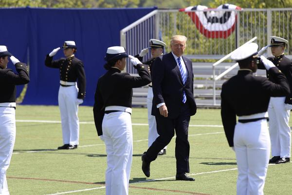 President Donald Trump arrives at the U.S. Coast Guard Academy commencement in New London.
