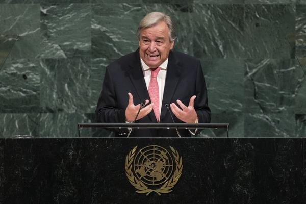 U.N. Secretary General Antonio Guterres addresses the United Nations General Assembly at U.N. headquarters, Sept. 19, 2017, in New York City. (Drew Angerer/Getty Images)