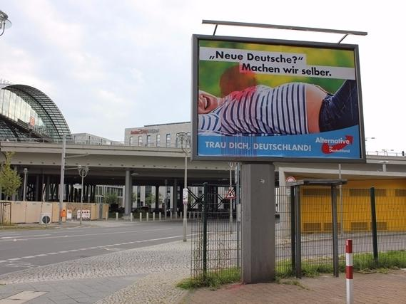 """A political ad for the right-wing party Alternative for Germany reads: """"New Germans? We'll make them ourselves."""""""