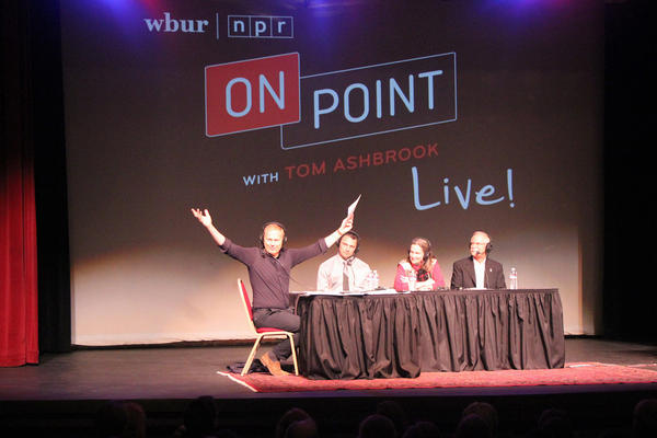 Tom Ashbrook and panelists during an On Point Listens live show in Spokane, Washington. (Janean Jorgensen/Spokane Public Radio)