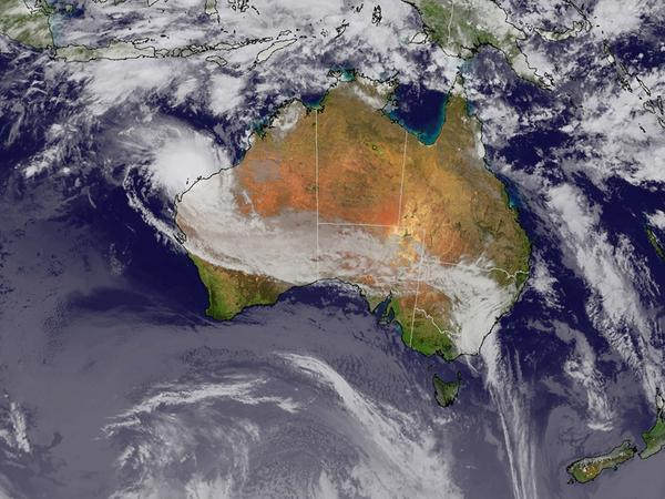 Australia as seen from a satellite image shot by Japan Meteorological Agency.