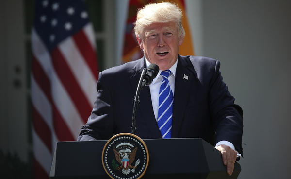 President Trump speaks during a joint news conference with Spanish Prime Minister Mariano Rajoy at the Rose Garden of the White House on Tuesday.