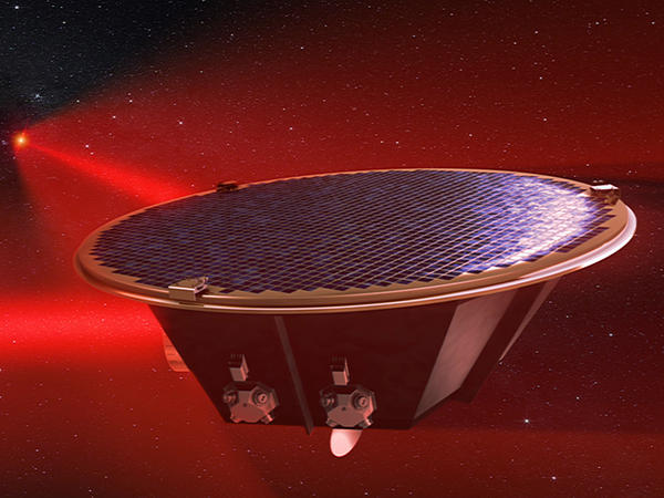 The Laser Interferometer Space Antenna, as seen in this image from an artist's simulation, will aim to detect gravitational waves in space.