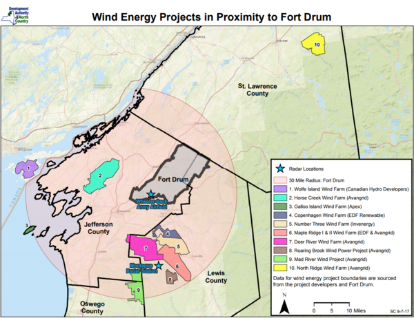 Eight wind farms are in development near the Fort Drum military base.