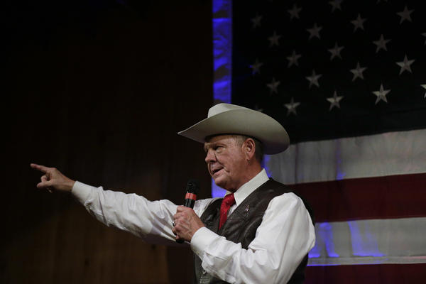 Former Alabama Chief Justice and U.S. Senate candidate Roy Moore speaks at a rally, Monday, Sept. 25, 2017, in Fairhope, Ala. (Brynn Anderson/AP)